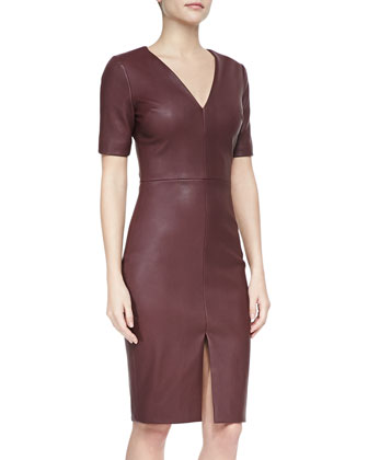 Short-Sleeve Stretch Leather Dress, Bordeaux
