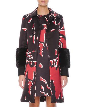Beaver Fur-Cuffed Macro-Floral-Print Coat & Macro-Floral-Print Satin Shift ...