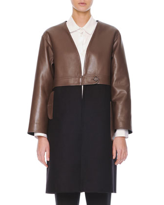 Leather/Felt Long Coat, Inverted-Pleat Poplin Blouse & Flat-Front Cropped ...