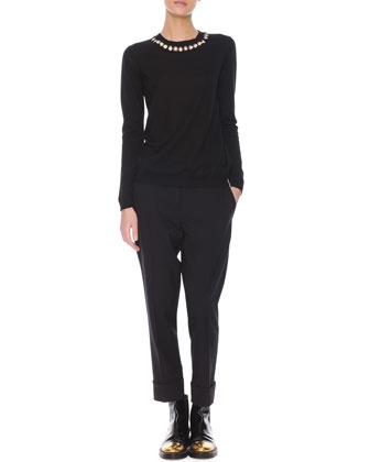 Jewel-Trim Cashmere Sweater