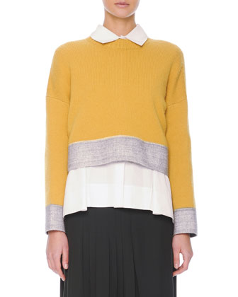 Felt-Trim Button-Back Knit Cropped Sweater