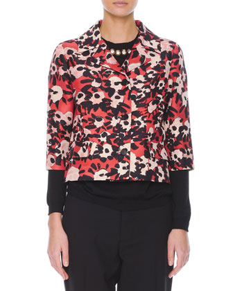 Poppy Floral-Print 3/4-Sleeve Jacket, Jewel-Trim Cashmere Sweater & ...