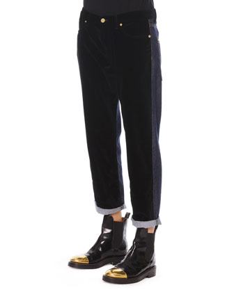 Velvet/Denim Cropped Relaxed Pants