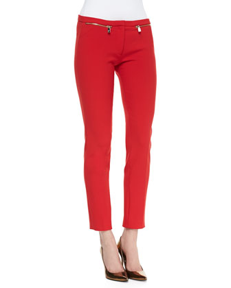 Slim-Leg Cady Pants, Red