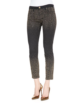 Metallic Dot-Embellished Stretch Jeans, Nero Black