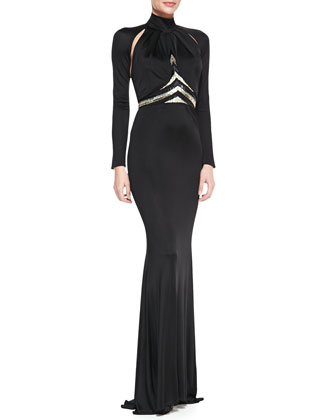 Mock-Neck Long-Sleeve Gown with Chevron Beaded Waist