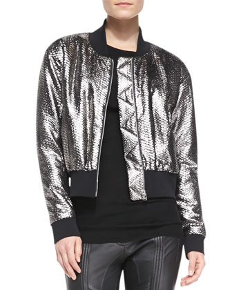 Long-Sleeve Python-Print Bomber Jacket, Long-Sleeve Wool Knit Top & Biker ...