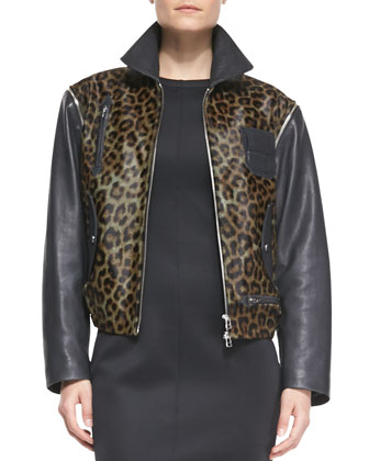 Convertible Leopard-Print/Leather Moto Vest-Jacket & Sleeveless Scuba-Knit ...