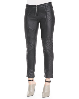 Biker Cropped Leather Pants, Black