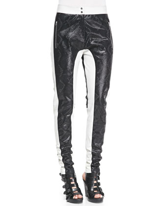 Python-Embossed Paneled Leather Pants, Black/White