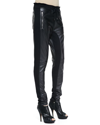 Mixed Leather & Fleece Pants, Black