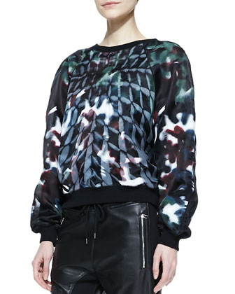 Long-Sleeve Printed Organza Sweater & Mixed Leather/Fleece Pants