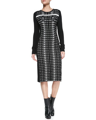 Geometric Jacquard Knit Dress, White/Black
