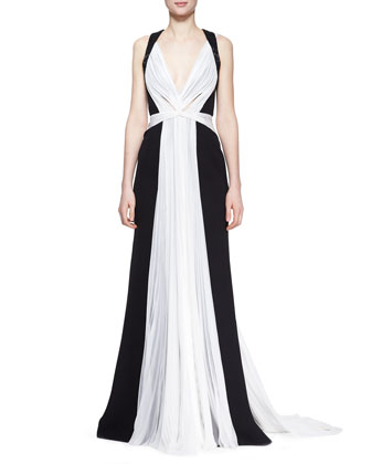 Two-Tone Silk Gown with Beaded Embroidery