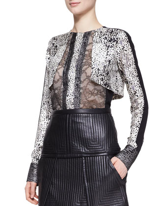 Silver Fox Fur Jacket, Long-Sleeve Top with Lace & Trapunto Stitched ...