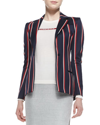 Bold-Striped Tailored Blazer, Navy/Red/White