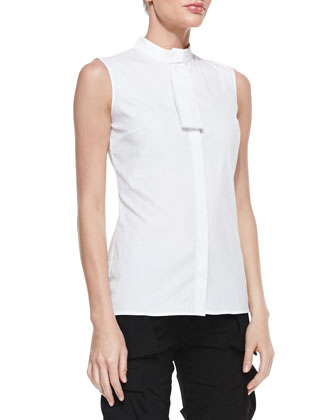 Sleeveless Mini-Tie Blouse
