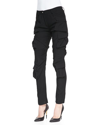 Sleeveless Mini-Tie Blouse and Modern Slim Crepe Cargo Pants