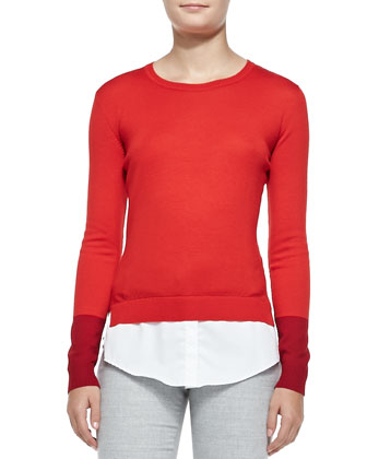 Wool Layered-Tail Crewneck Sweater & Slim Lightweight Wool Pants