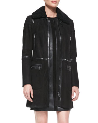 Suede Shearling-Collar Zip Coat