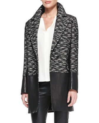 Leather-Panel Tweed Coat, Split-Neck Shirttail Blouse & Zip-Pocket Pull-On ...