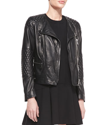 Lightweight Quilted Leather Moto Jacket and Sleeveless Jersey Fit-and-Flare ...