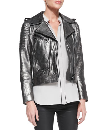 Metallic Leather Moto Jacket, Washed Piped Pocket Blouse & Skinny Coated ...
