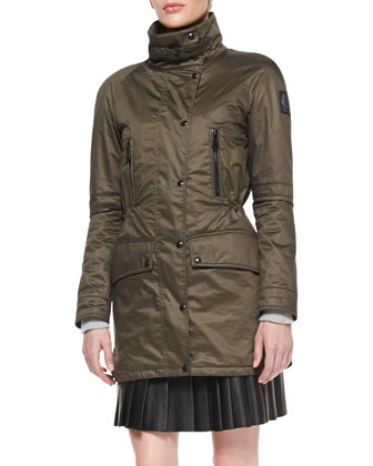 Resin-Coated Twill Anorak, Reverse Tweed Sweater & Pleated Glove Leather Skirt