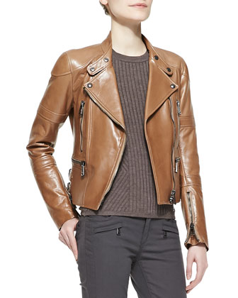 Leather Zip Moto Jacket, Contoured Ribbed Crew Sweater & Skinny Twill Moto ...