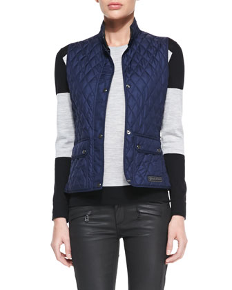 Diamond-Quilted Snap Vest, Colorblock Racing Stripe Sweater & Skinny Coated ...