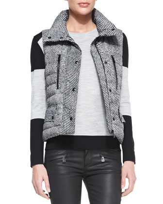 Tweed-Print Snap Puffer Vest, Colorblock Racing Stripe Sweater & Skinny ...