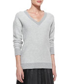 V-Neck Reverse Tweed Sweater