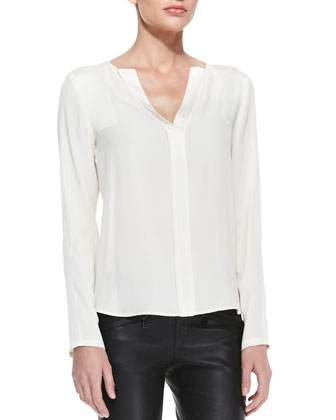Split-Neck Shirttail Blouse