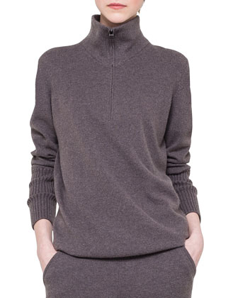 Cashmere Half-Zip Drawstring Sweater