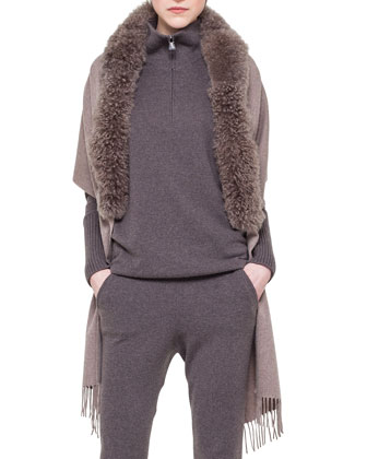 Cashmere Half-Zip Sweater, Cashmere Jogging Pants & Alpaca-Fur-Collar Wrap