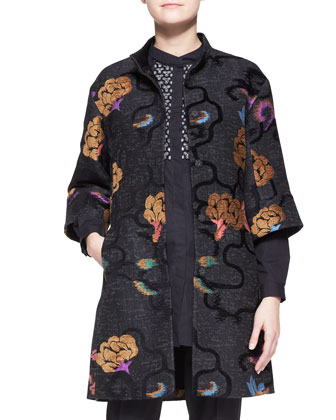 3/4-Sleeve Scroll Floral Snap-Down Coat/Long-Sleeve Beaded-Placket Tunic ...