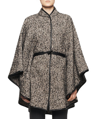 Leather-Belt Tweed Poncho, Taupe/Black