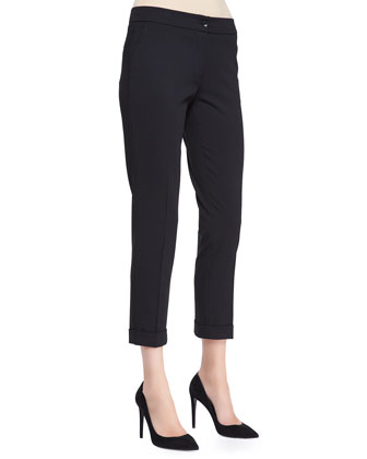 Serged Front Zip-Cuff Capri Pants, Black