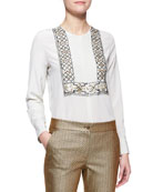 Long-Sleeve 3D Beaded Bib-Front Blouse