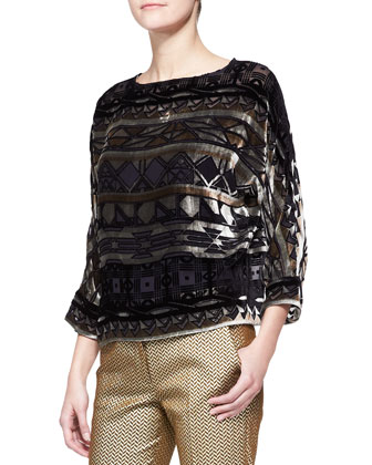 Long-Sleeve Geo-Print Boxy Top & Stretch Metallic Herringbone Cuffed Pants