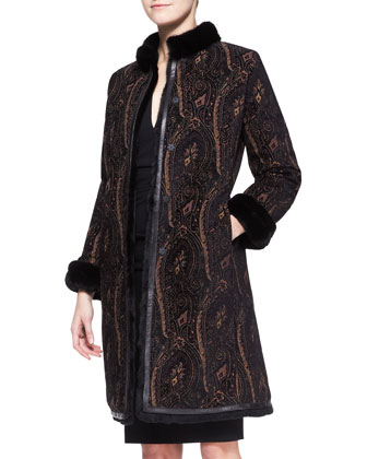 Mink-Collar Paisley Reversible Rabbit Coat & 3/4-Sleeve Fitted Ruched-Waist ...