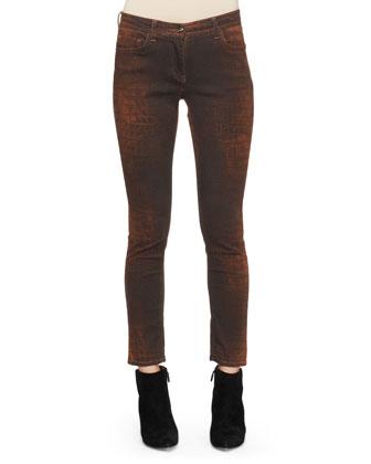 Reptile-Print Skinny Jeans
