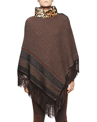 Leopard-Collar Poncho with Fringe Hem