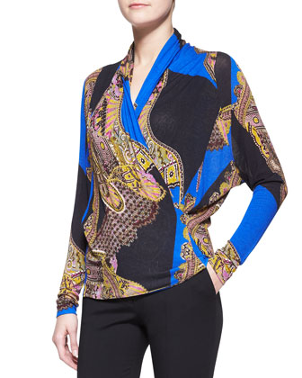Long-Sleeve Chain & Paisley Faux-Wrap Blouse