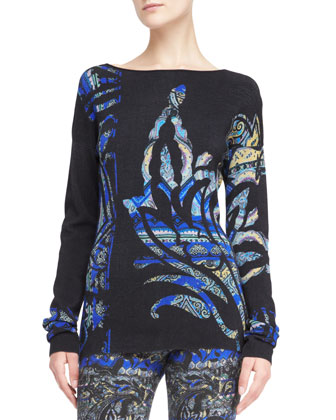 Stenciled Paisley Bateau Sweater