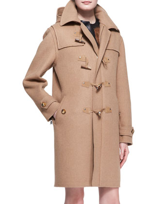 Garrett Camel Felt Toggle Coat, Fur Ellery Vest & Conroy Short-Sleeve ...
