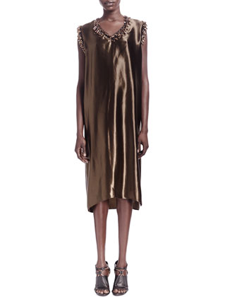 Sateen Fringe Bead-Trim Shift Dress