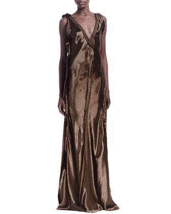 Silk Raw-Edge Seamed Sleeveless Gown
