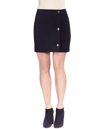 Wool Industrial Side-Snap Skirt, Blue Marine