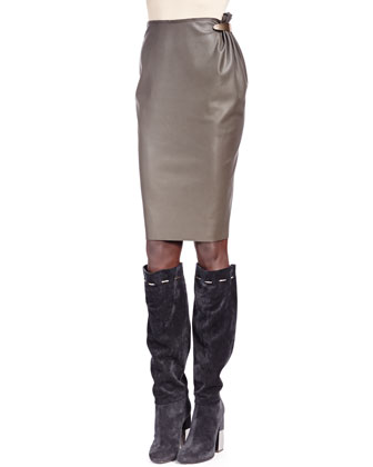 Faux Leather Bow-Neck Top & Faux Leather Metal-Detail Skirt